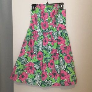 Strapless pink and green dress